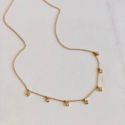 14k Yellow Gold Star and Briolette Necklace