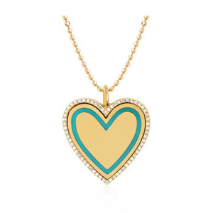 Gold Heart Enamel Necklace