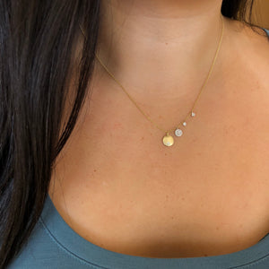 Gold and Diamond Circle Necklace