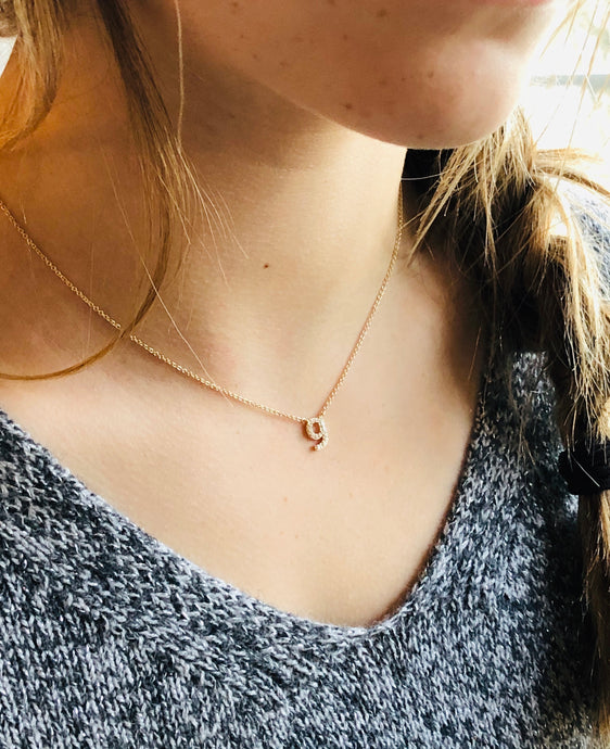 petite initial diamond necklace