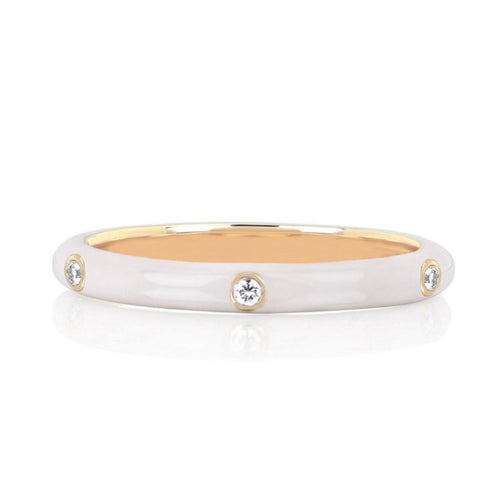 Three Diamond White Enamel Stack Ring