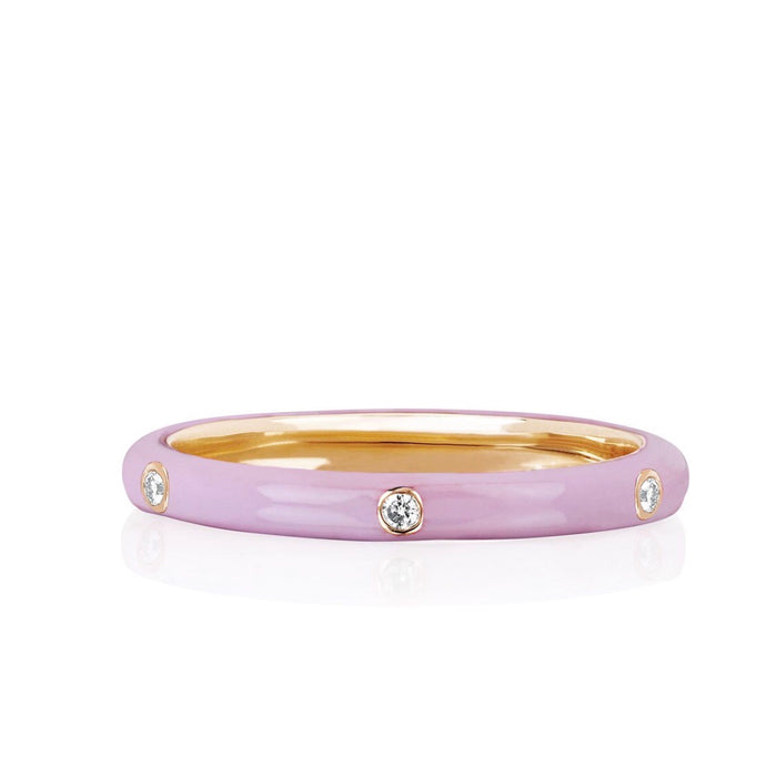 3 Diamond Light Pink Enamel Ring
