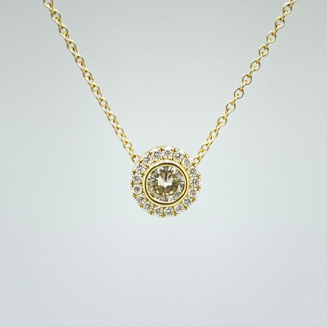 14k Gold Diamond Halo Necklace