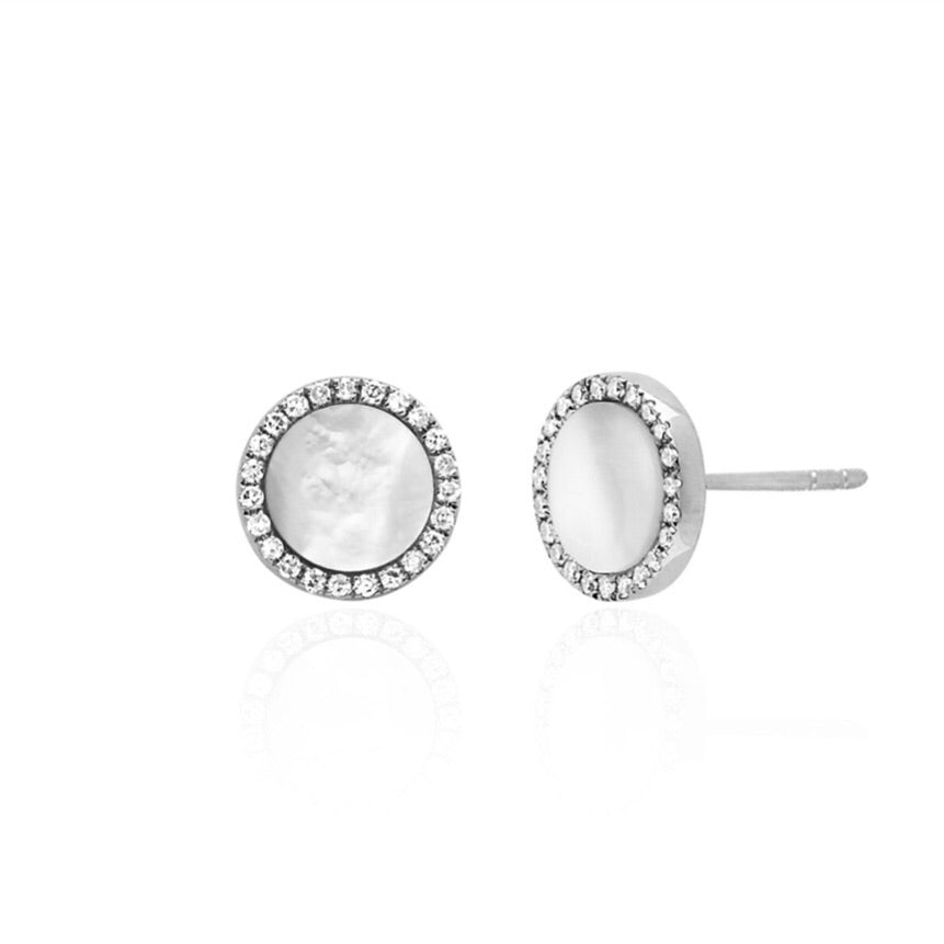 White Gold MOP and Diamond Earrings