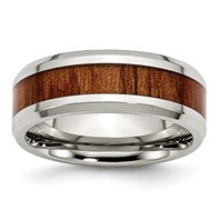 Stainless Steel Polished Red/ Orange Wood Enamel Rings