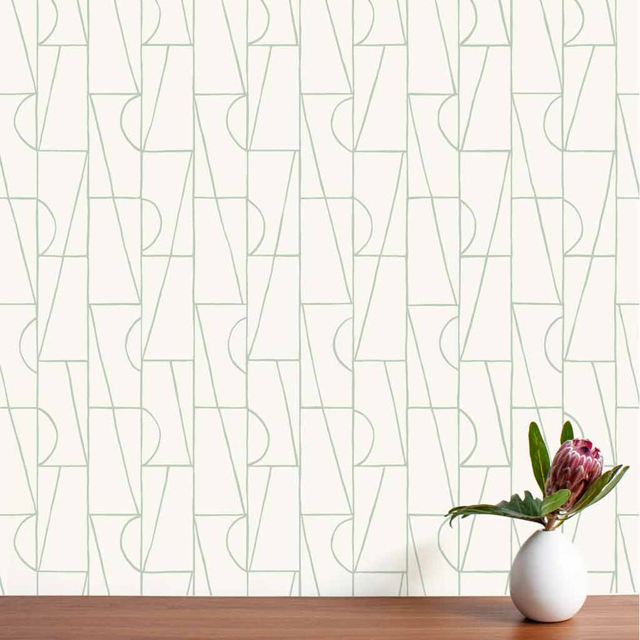 Habita wallpaper - Copa pattern - Agave color