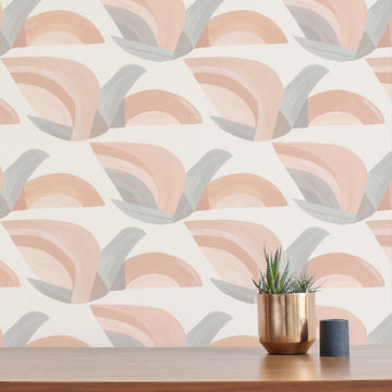 Habita - Flock wallpaper in Blush Sand