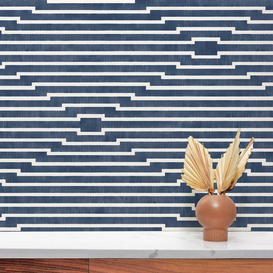 Habita geometric wallpaper - Rincon pattern in Lake color