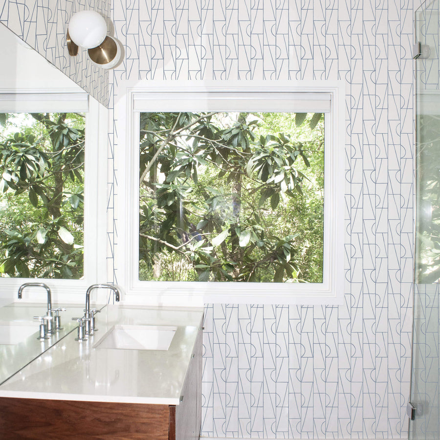 Habita wallpaper - Geometric Copa Design in Lake shown in bathroom