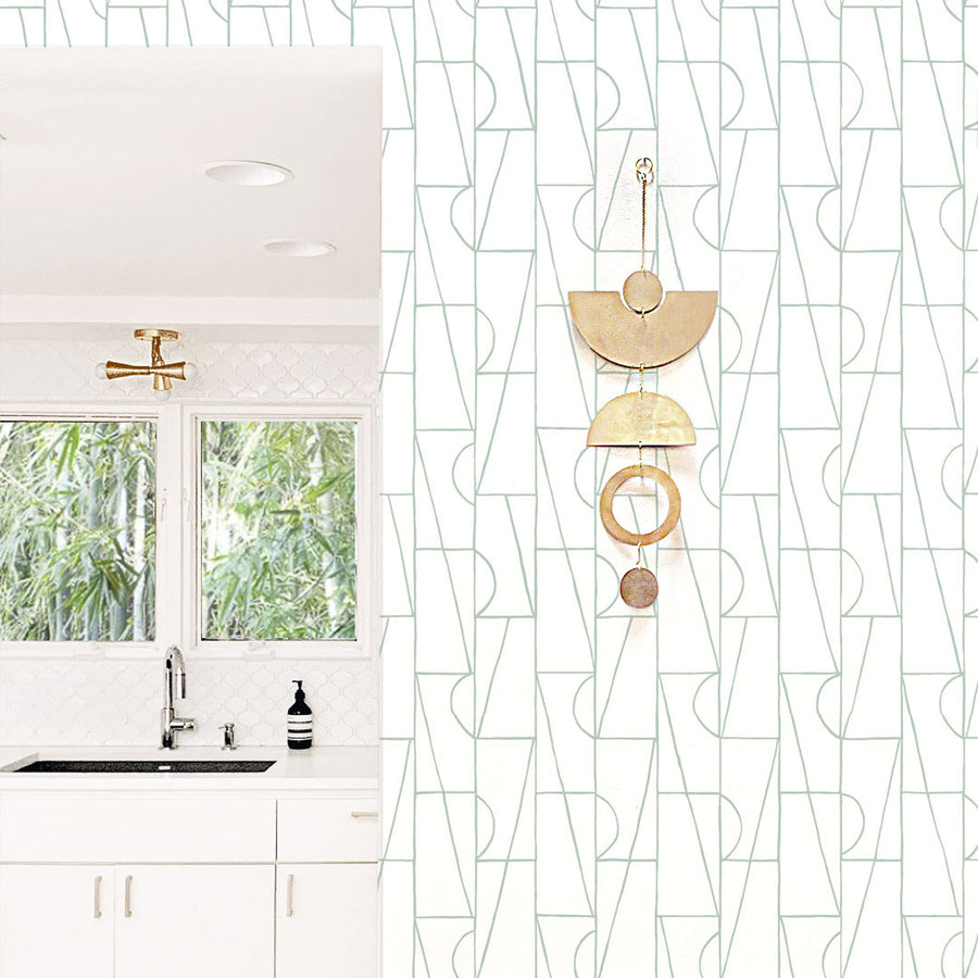 Habita wallpaper - Geometric Copa Design in Agave