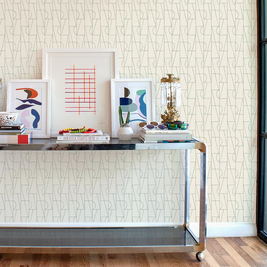 Habita designer wallpaper - Copa pattern in Agave color entryway