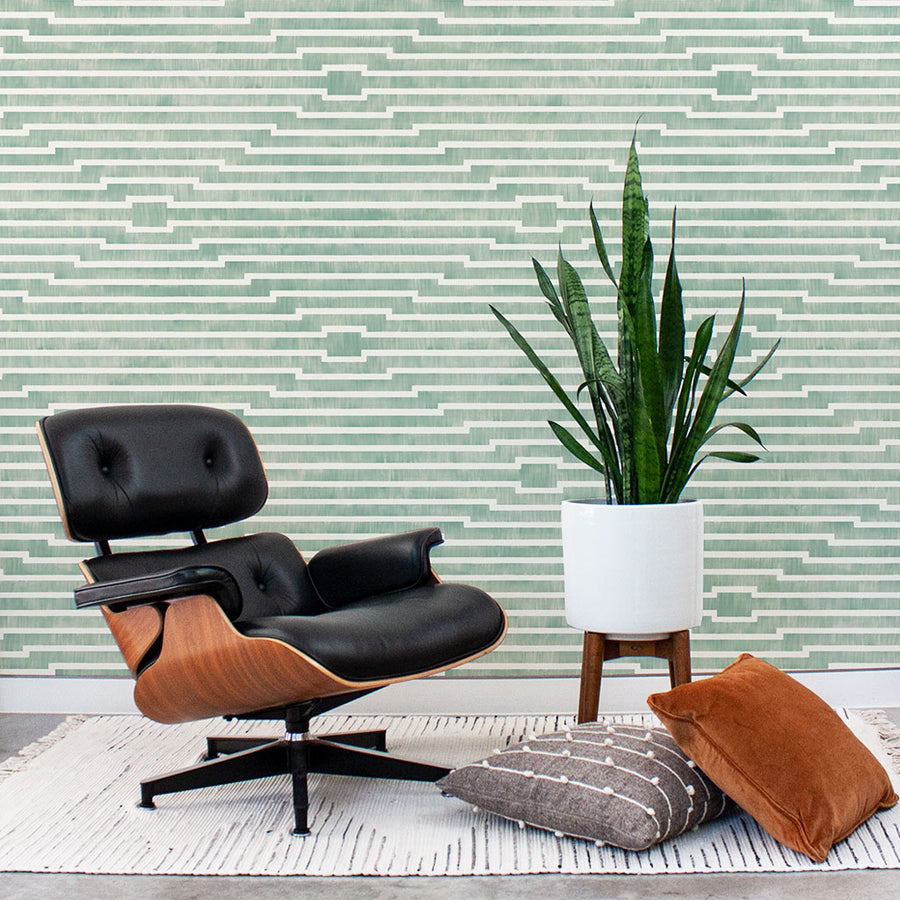 Habita modern designer wallpaper - Rincon pattern - Agave color