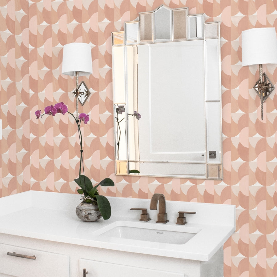 Habita wallpaper - Sunrise pattern - Blush color