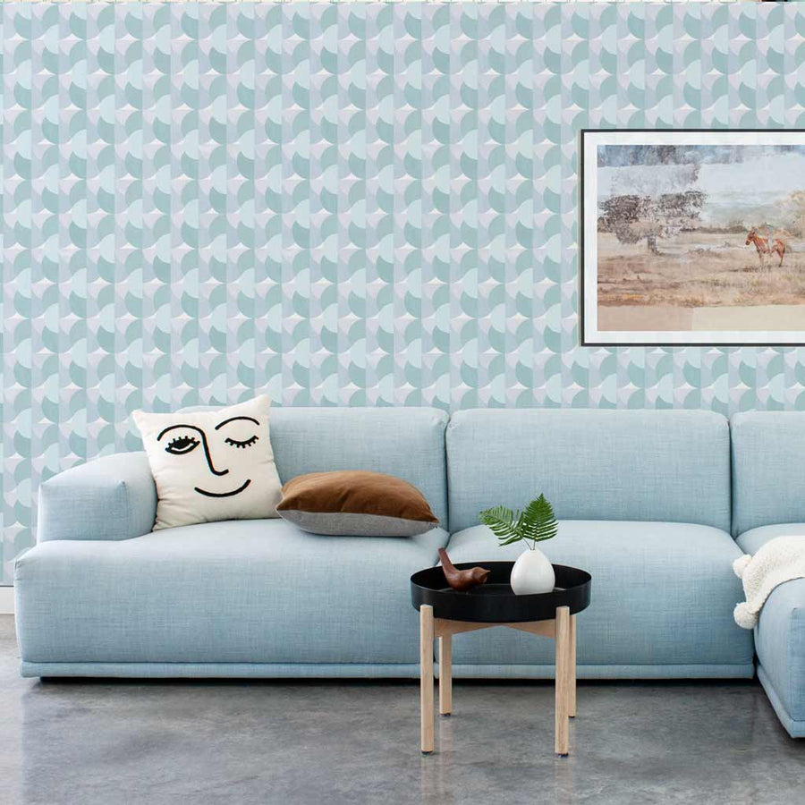 Habita contemporary wallpaper - Sunrise pattern - Pool color in contemporary modern living room