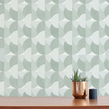Habita modern wallpaper - Sunrise pattern - Agave color