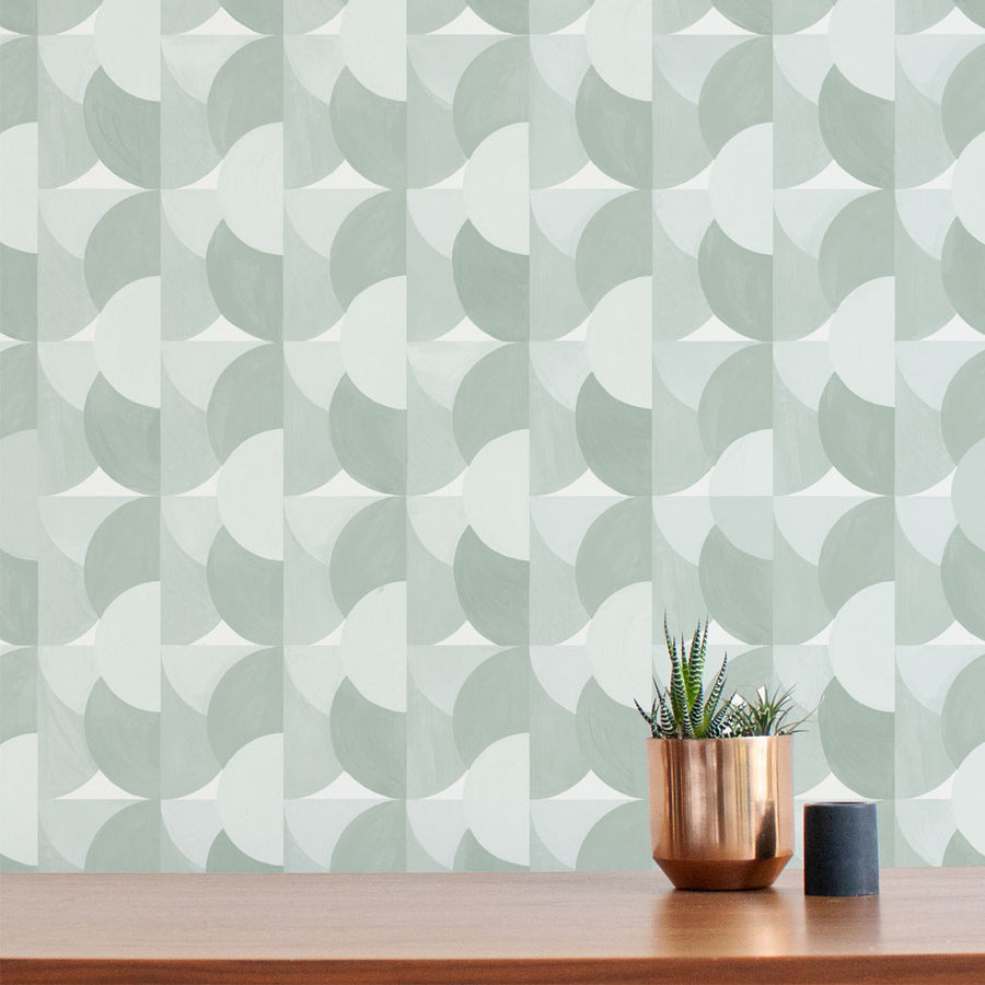 Habita contemporary wallpaper - Sunrise pattern - Agave color
