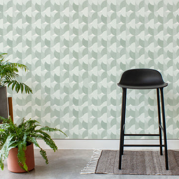 Habita contemporary modern wallpaper - Sunrise pattern - Agave color