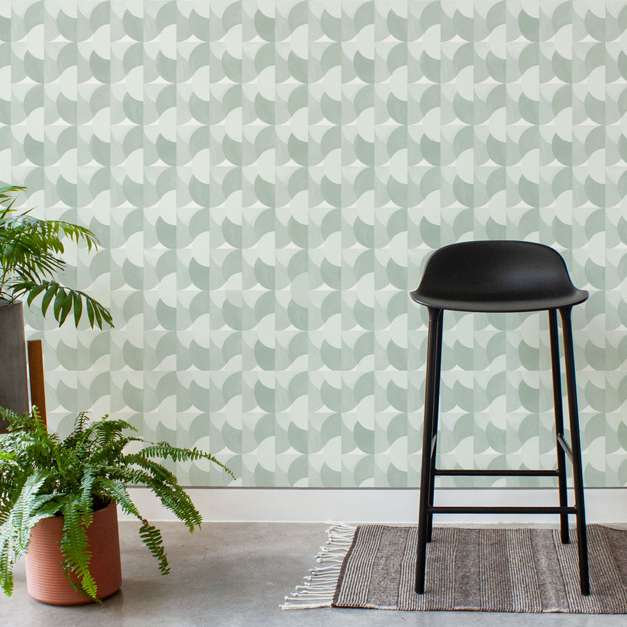 Habita wallpaper - Sunrise pattern - Agave color