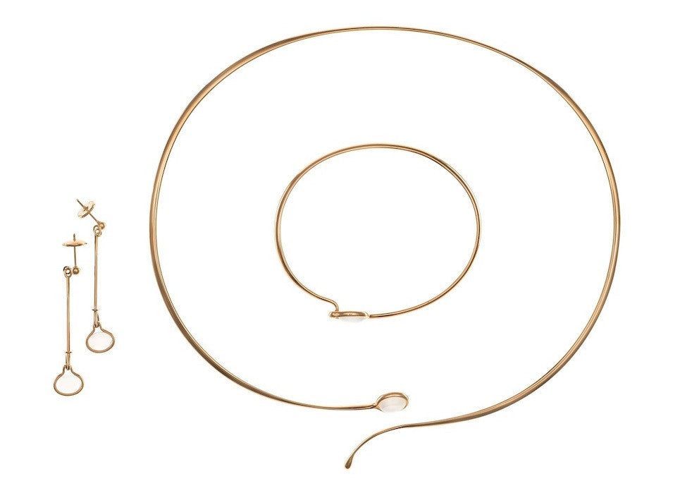 Georg Jensen Gold Necklace, Bracelet and Earrings set