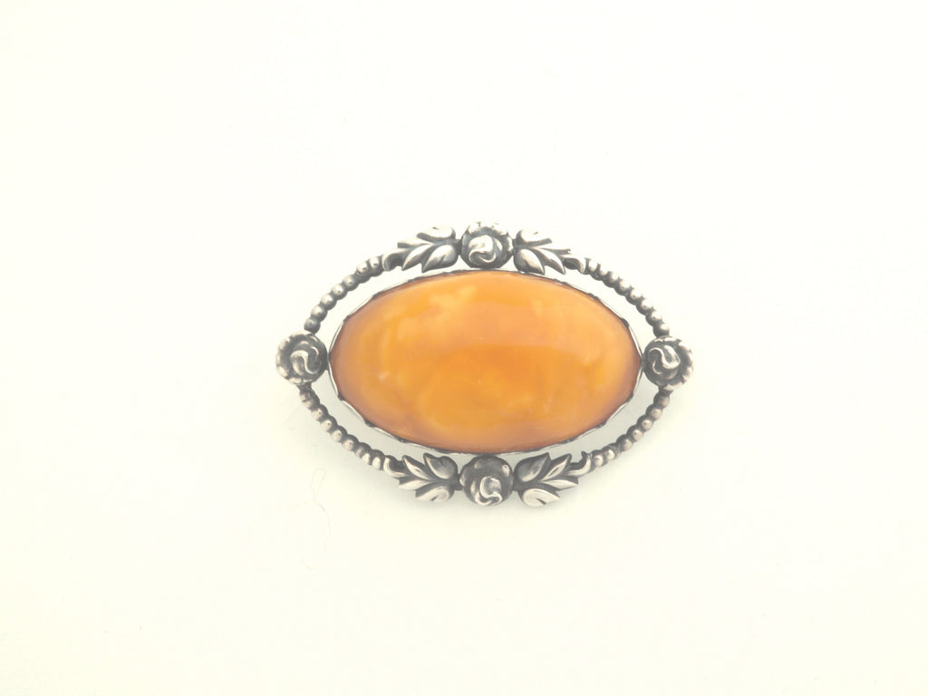 Berhard Hertz Silver and Amber Brooch