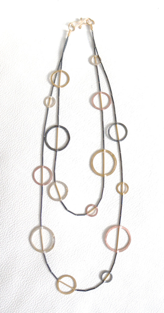 Silver Necklace Partly Gilded And Palladium Plated