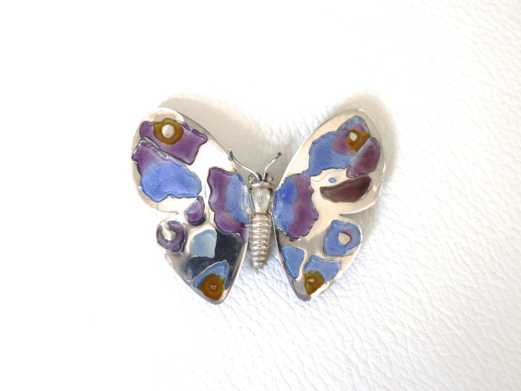 Silver And Enamel Brooch And Pendant