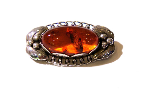 Georg Jensen Silver and Amber Brooch