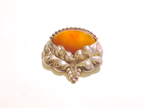 Danish Silver and Amber Brooch