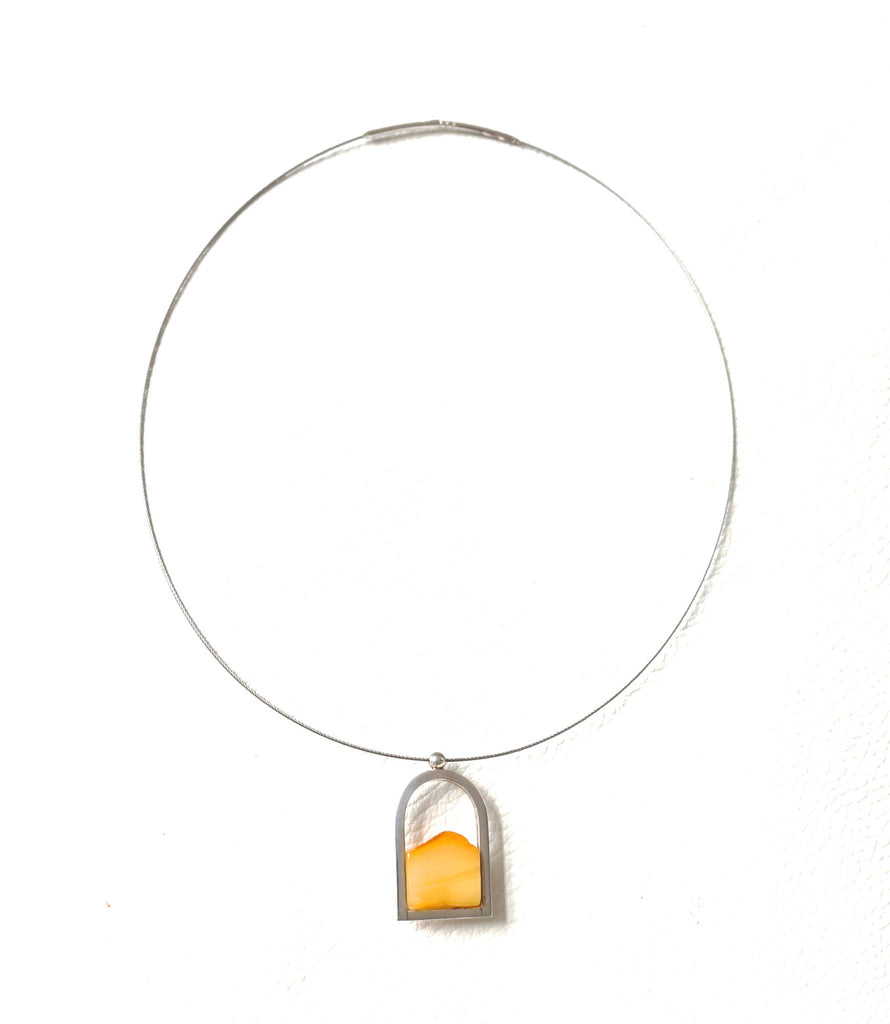 Steel Silver And Amber Necklace