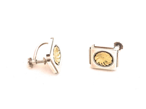 Georg Jensen Silver and Gold Art Deco Earrings
