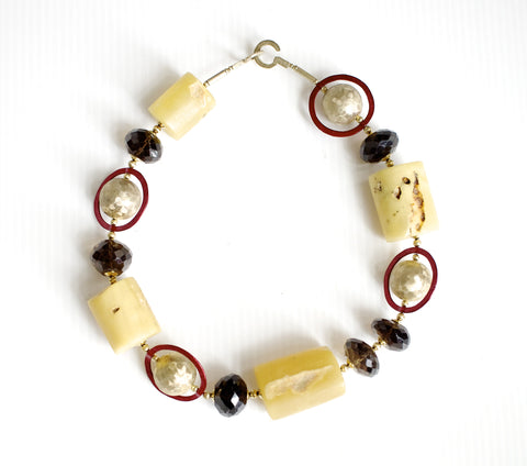 Amber Silver And Semiprecious Stone Necklace