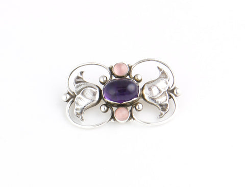 Georg Jensen Rose quartz and Amethyst  Silver Brooch