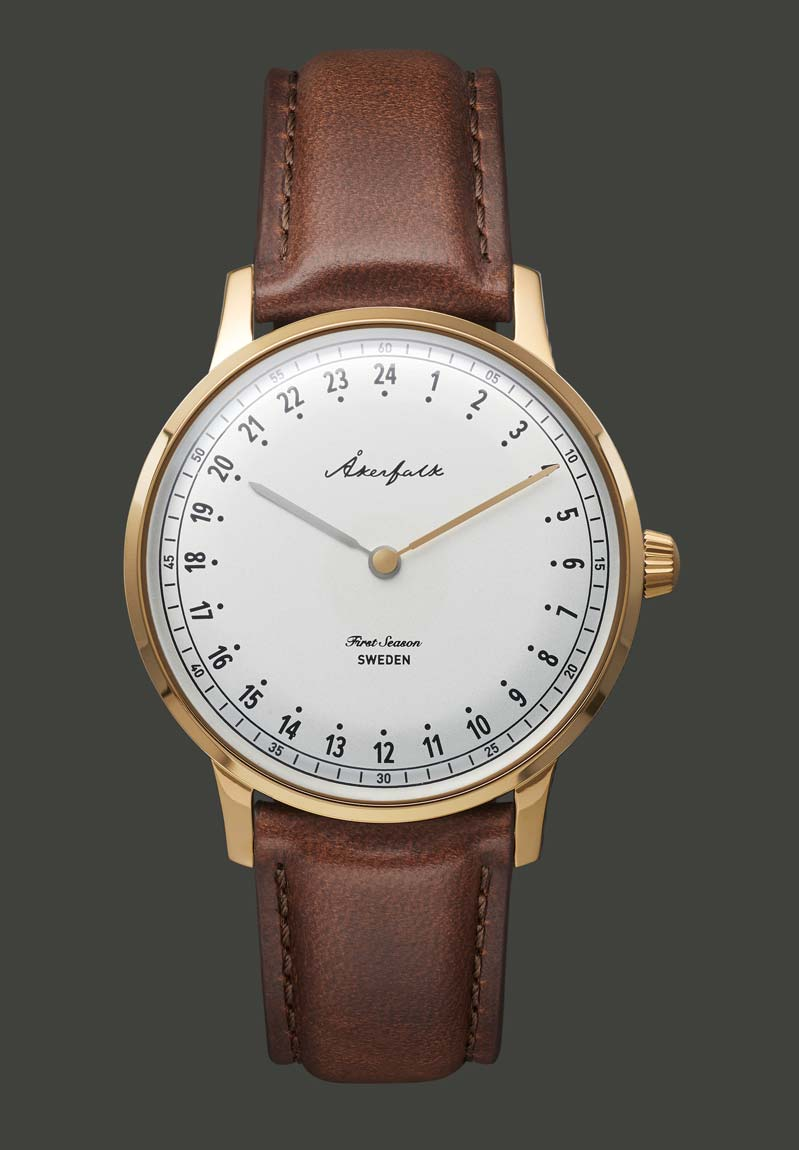 24-hour watch with gold case and brown leather strap