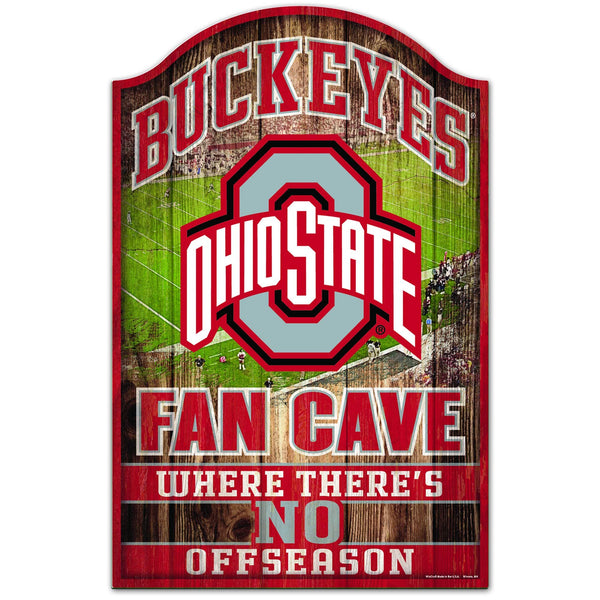 "11"" x 17"" Ohio State Buckeyes Fan Cave Wood Sign"