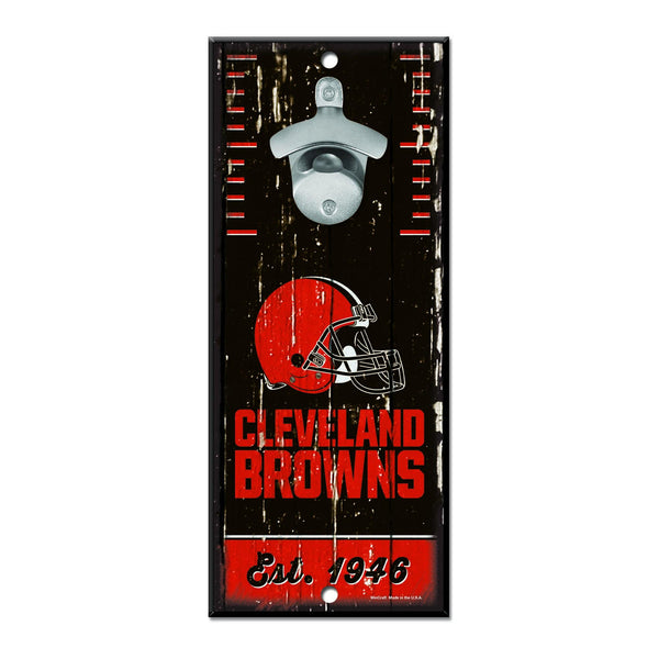 "11"" x 5"" Cleveland Browns Est. 1949 Brown Bottle Opener Sign"