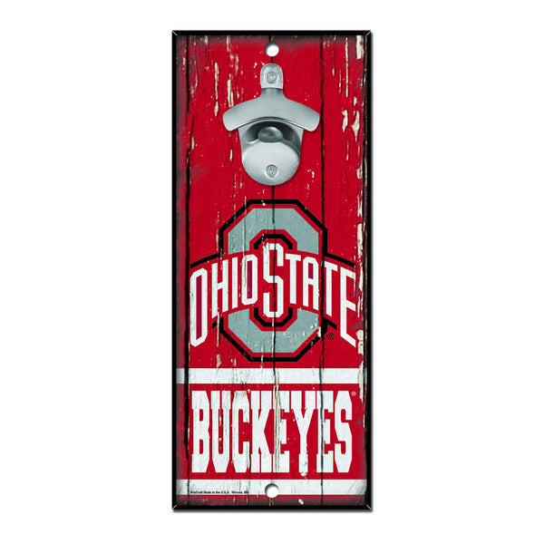 "11"" x 5"" Ohio State Buckeyes Red Athletic O Bottle Opener Sign"