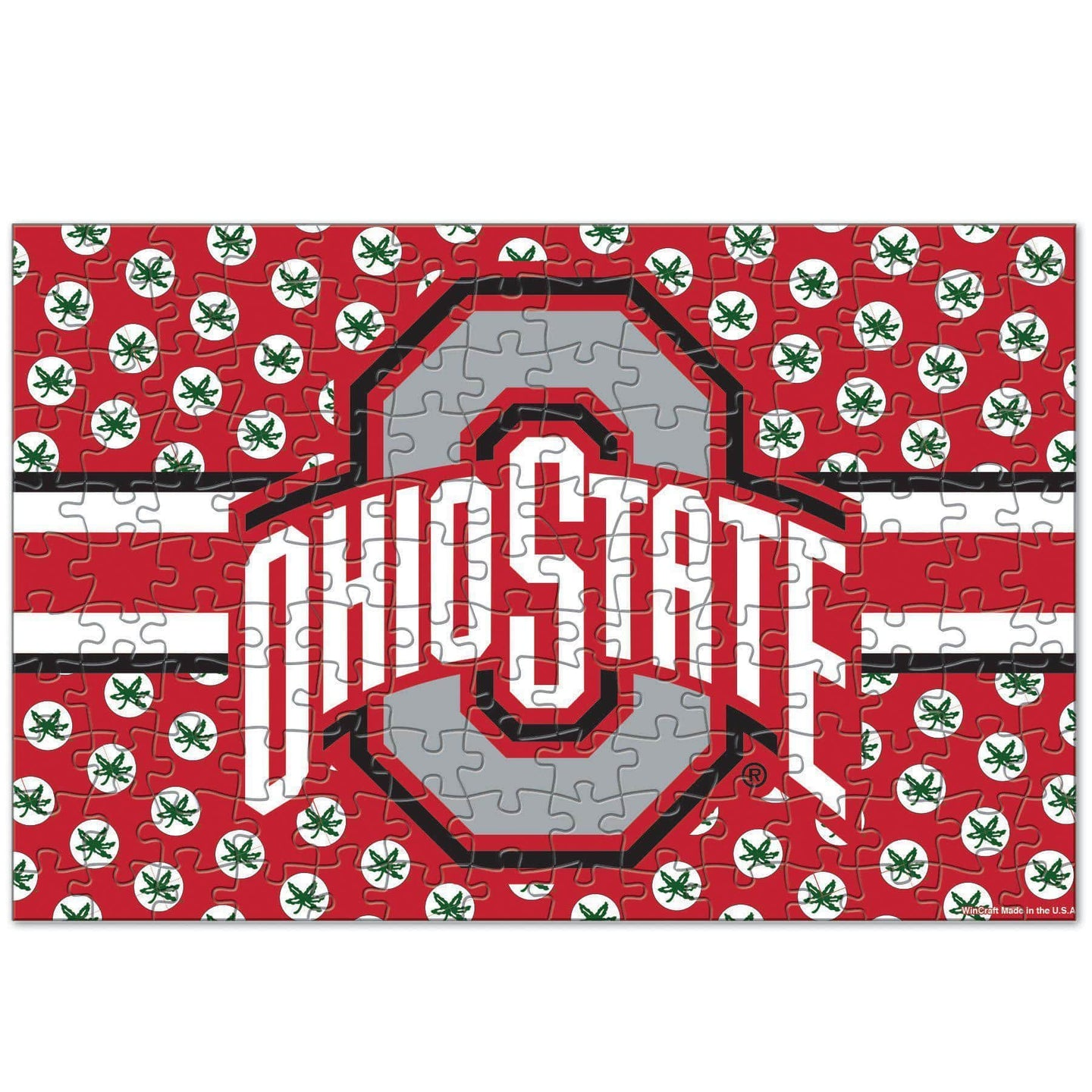 150 Piece Athletic O puzzle with Helmet Stripes and Buckeye Leaves - Conrads College Gifts