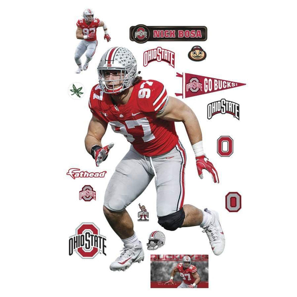 "3'11"" x 6'2"" Ohio State Buckeyes Nick Bosa FatHead Life-Size Officially Licensed Removable Wall Decal - Conrads College Gifts"