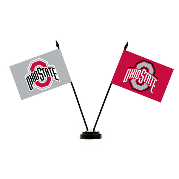 "4"" x 6"" Ohio State Buckeyes Double-Sided Flag Desk Set - Conrads College Gifts"