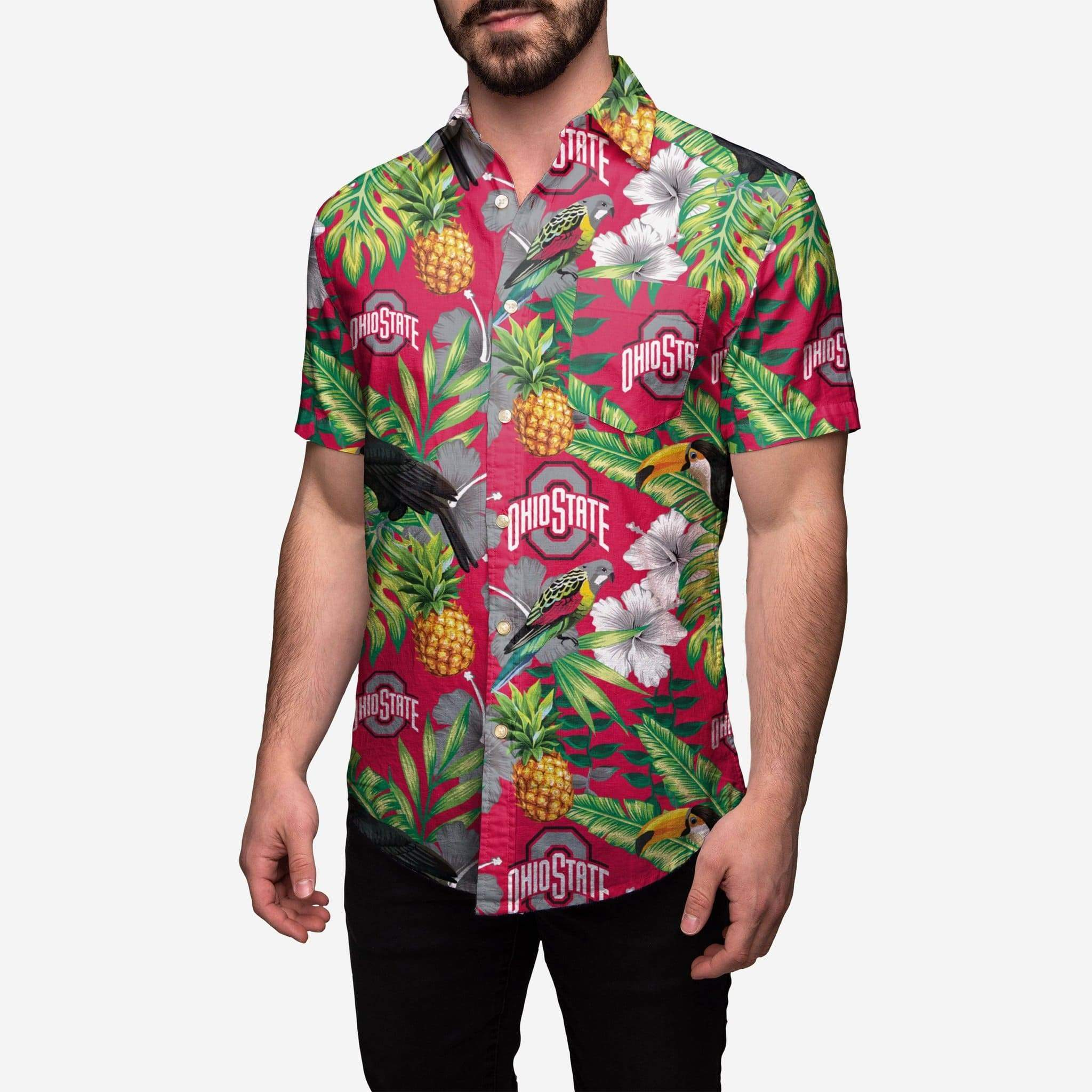 Athletic O Hawaiian Print Button Up Shirt - Conrads College Gifts