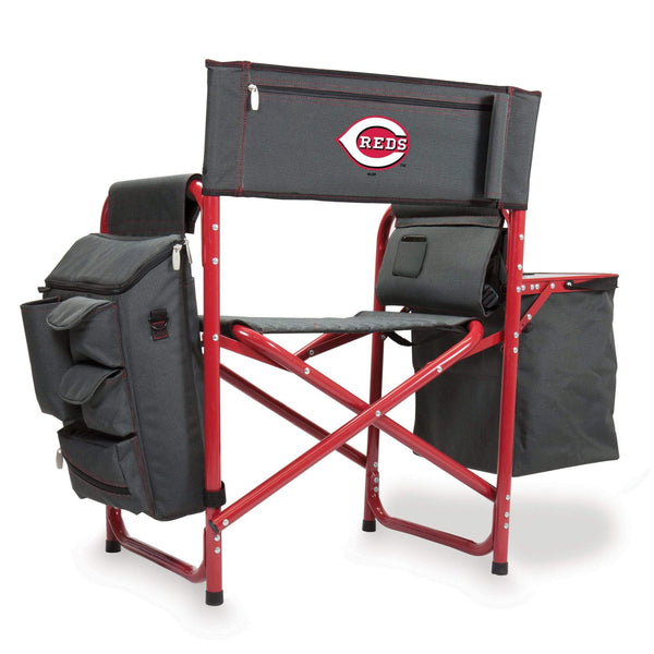 Cincinnati Reds Fusion Backpack Chair with Cooler (Dark Gray with Red Accents) - Conrads College Gifts