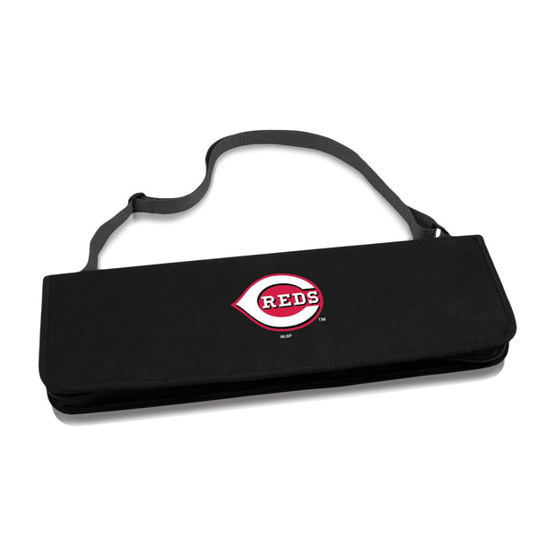 Cincinnati Reds Metro BBQ Tote & 3-Piece Grill Set (Black with Gray Accents) - Conrads College Gifts