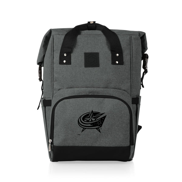 Columbus Blue Jackets On The Go Roll-Top Cooler Backpack (Heathered Gray) - Conrads College Gifts