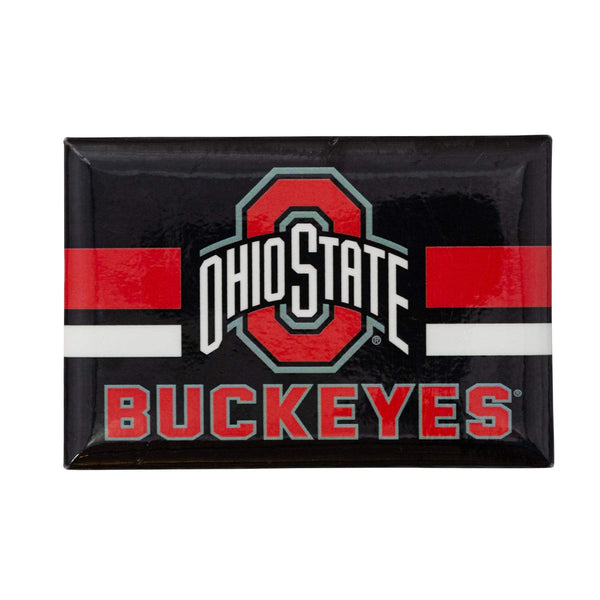 Ohio State Buckeyes Black Rectangle Athletic O Stripe Fridge Magnet - Conrads College Gifts