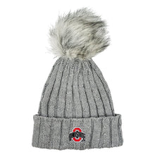 Load image into Gallery viewer, Ohio State Cable Knit Faux Fur Pom Hat