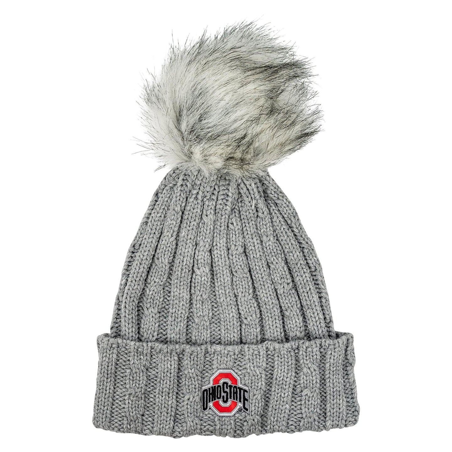 Ohio State Cable Knit Faux Fur Pom Hat