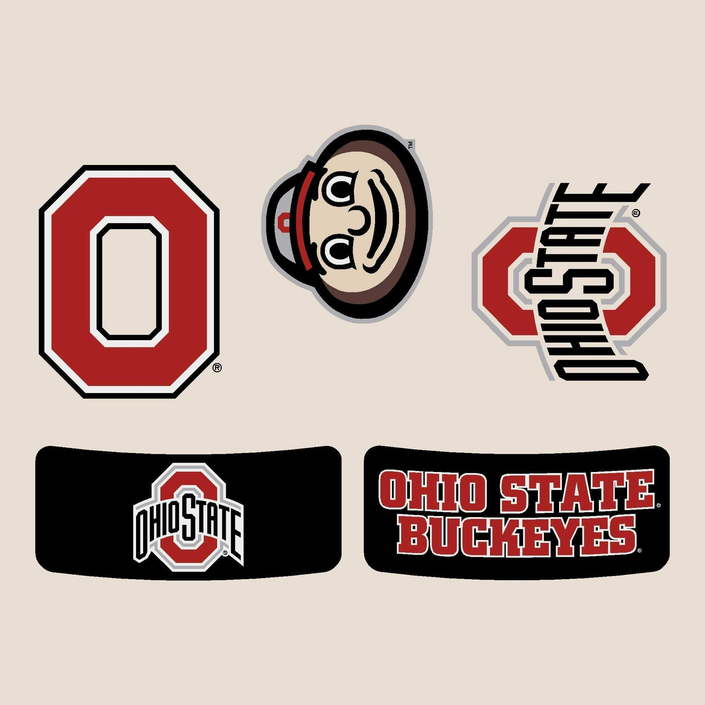 Ohio State Face and Body Tattoos - 5 Pack - Conrads College Gifts