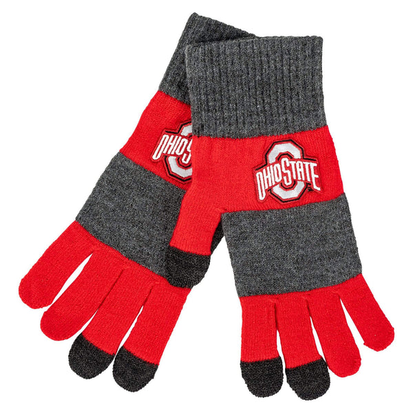 Ohio State Striped Touchscreen Knit Gloves