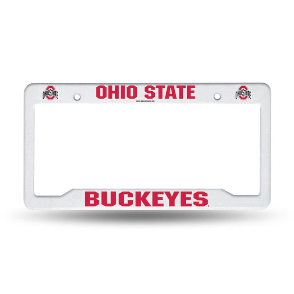 Ohio State White Buckeyes Plastic License Plate Frame - Conrads College Gifts