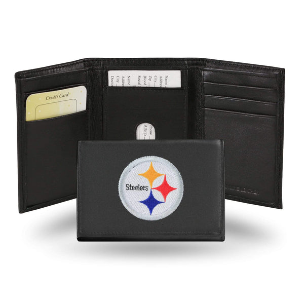 Pittsburgh Steelers Embroidered Leather Trifold Wallet - Conrads College Gifts